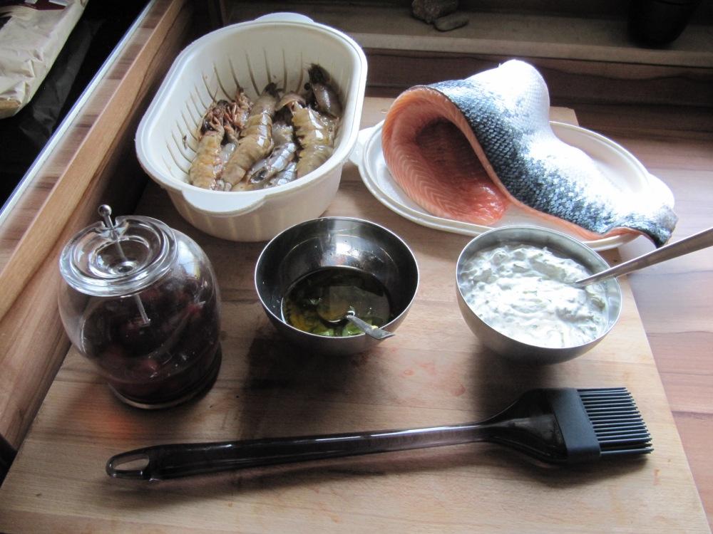 Rezept Nr. 8: Meine Butterfly-Garnelen und mein Lachsfilet am Zedernbrett geräuchert. (3/6)