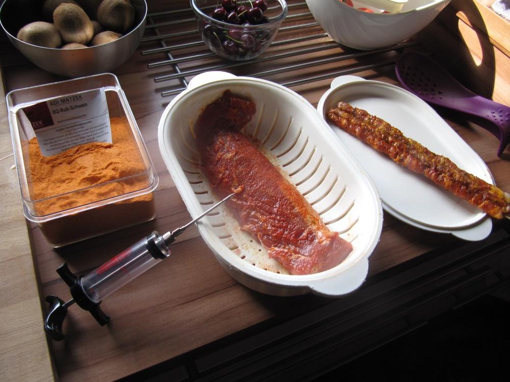 Rezept Nr. 20: Mein Schweinefilet, Grillfackel, Potato-Wedges und gedämpftes Gemüse (6/6)