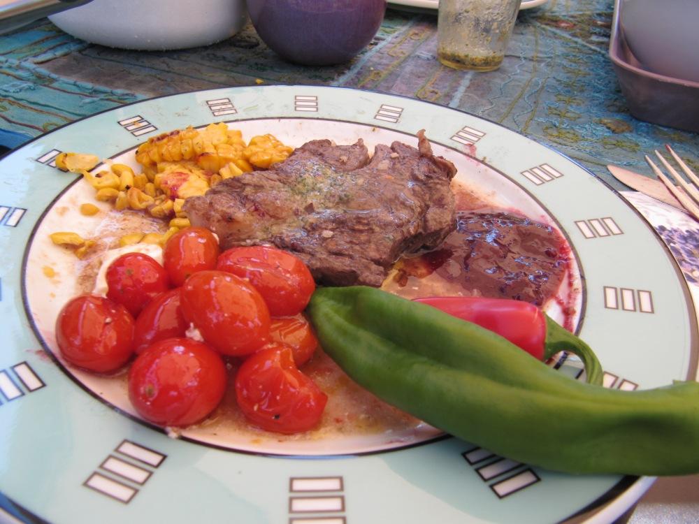 Rezept Nr. 38 : Mein Rib-Eye und Rumpsteak am Salzstein gegrillt mit karamellisierten Tomaten und gegrillten Maiskolben (1/6)