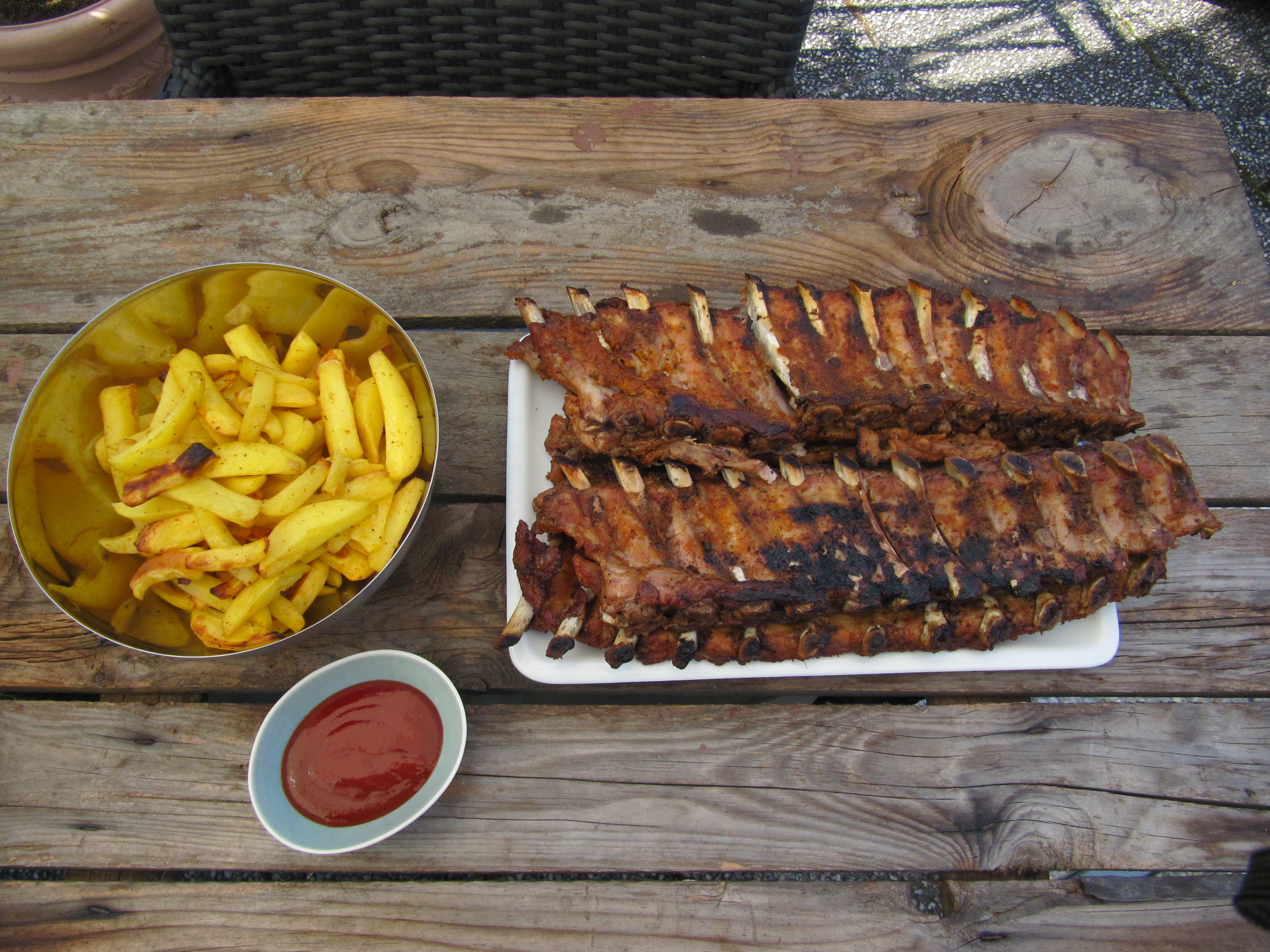 Kalbs Spareribs Gasgrill : Spareribs aus dem broil king rib roaster mit potato wedges